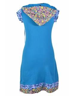 Krátké tyrkysové šaty s kapucí a krátkým rukávem, bublinkový potisk, kapsy