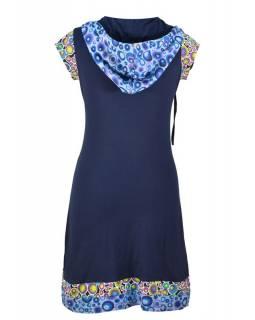 Krátké tmavě modré šaty s kapucí a krátkým rukávem, bublinkový potisk, kapsy