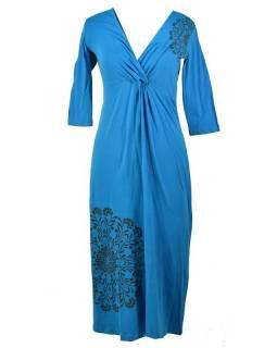 Dlouhé tyrkysové šaty s tříčtvrtečním rukávem, Mandala potisk, V výstřih