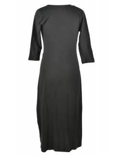Dlouhé černé šaty s tříčtvrtečním rukávem, Mandala potisk, V výstřih