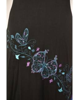 """Dlouhé černo-modré šaty s krátkým rukávem, """"Butterfly design"""", výšivka"""
