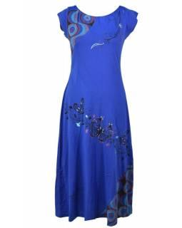 """Dlouhé modré šaty s krátkým rukávem, """"Butterfly design"""", výšivka"""