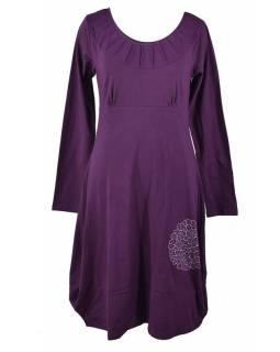 Dlouhé fialové šaty s dlouhým rukávem, potisk