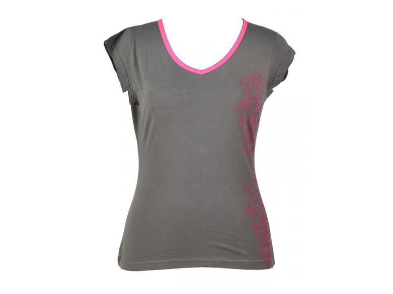 Šedo-růžové tričko s krátkým rukávem a ornamentálním potiskem, V výstřih