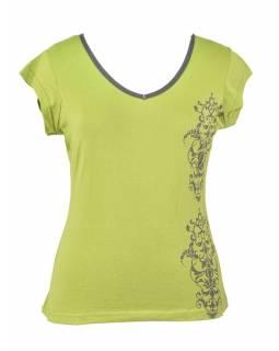 Zeleno-šedé tričko s krátkým rukávem a ornamentálním potiskem, V výstřih