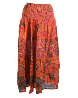 Dlouhá oranžová sukně s květinami, žabičkování