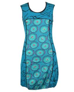 "Tyrkysové šaty bez rukávu ""Dounia"" s barevnými kolečky"