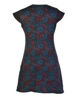 Šaty krátké, krátký rukáv, černo-červené, flower print, asymetrický střih, lemy