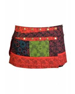 Krátká červeno černá sukně, zapínání na patentky a kapsička
