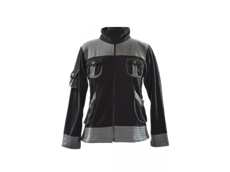 Černo šedá bunda s kapsami a ozdobným prošíváním, zapínání na zip