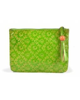 """Neceser design """"Small flowers"""", zelená, ručně malovaná kůže, 19,5x14,5cm"""