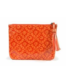 """Neceser design """"Small flowers"""", oranžová, ručně malovaná kůže, 19,5x14,5cm"""