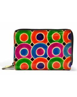 """Peněženka design """"Dots"""", ručně malovaná kůže, černá, 15x10cm"""