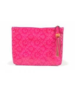 """Neceser design """"Small flowers"""", růžová, ručně malovaná kůže, 19,5x14,5cm"""
