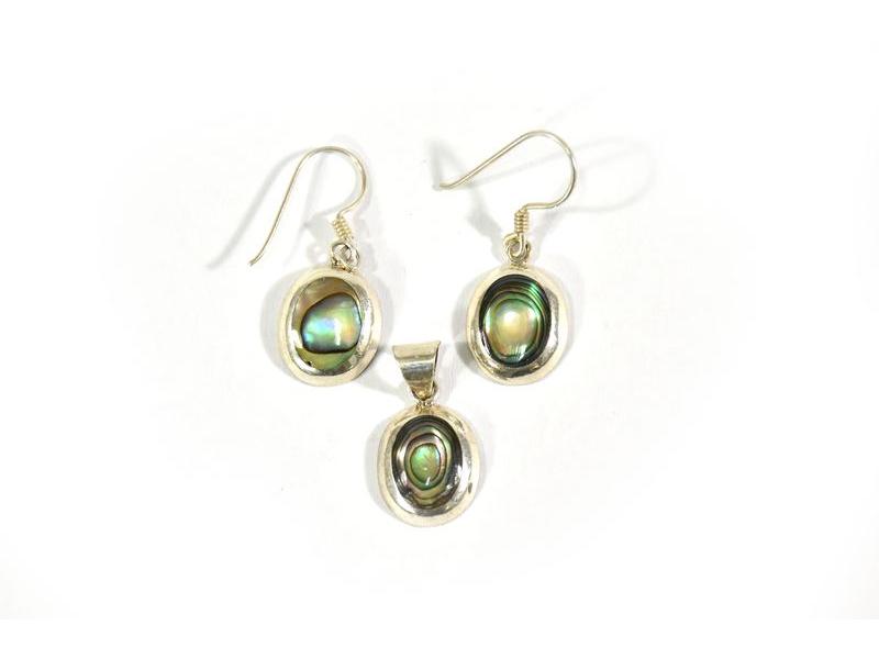 Set stříbrné visací náušnice a přívěsek vykládané perletí v barvě tyrkys, AG 925