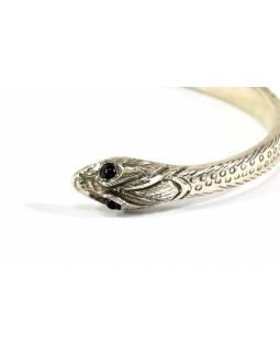 Stříbrný náramek s motivem hada vykládaný rubínem, AG 925, Nepál