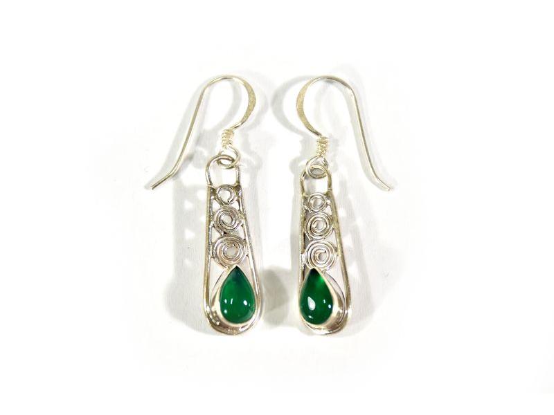 Stříbrné visací náušnice vykládané zeleným onyxem, AG 925