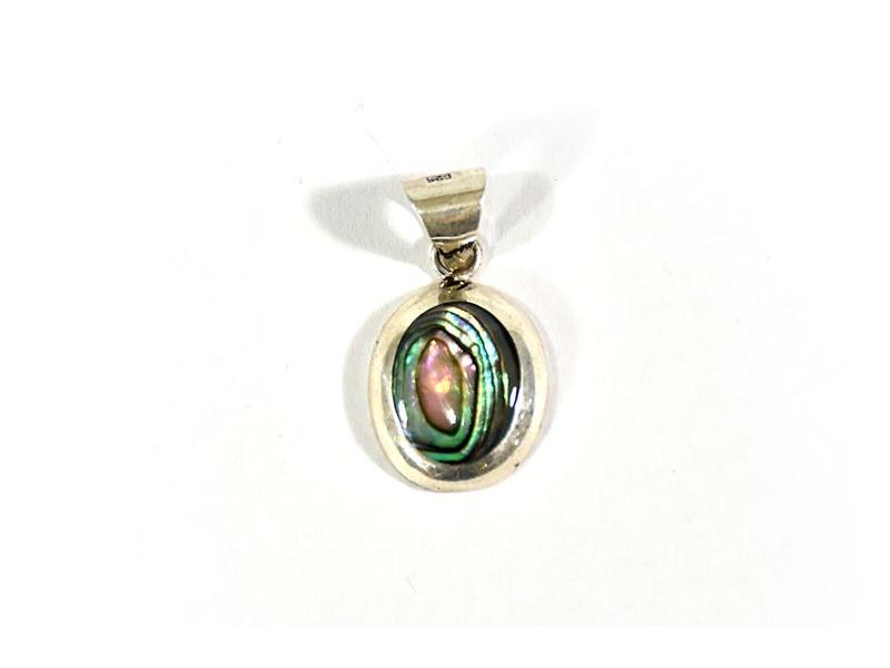 Stříbrný visací přívěsek vykládané perletí v zelené bílé, AG 925