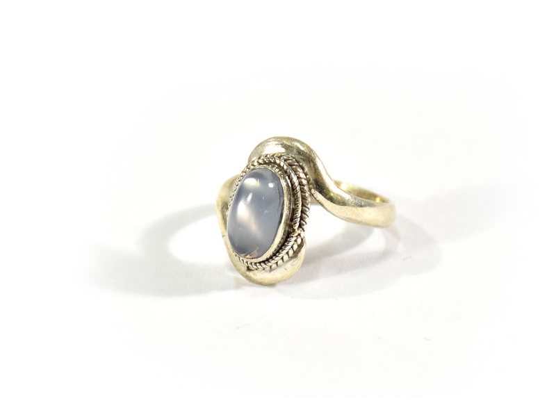 Stříbrný prsten vykládaný měsíčním kamenem, AG925, Nepál