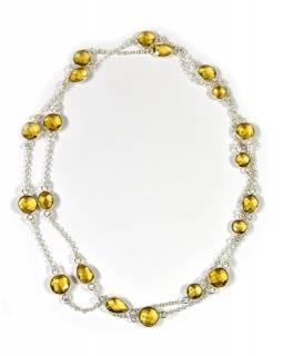 Dlouhý náhrdelník vykládaný barveným křišťálem, žlutý, postříbřené (10µm)