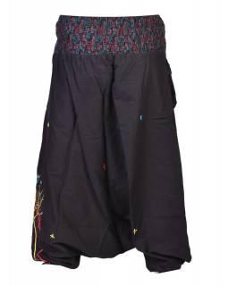 """Černé turecké kalhoty, """"Birds design"""", barevná výšivka, kapsička, bobbin"""