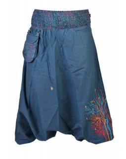 """Petrolejové turecké kalhoty, """"Birds design"""", barevná výšivka, kapsička, bobbin"""