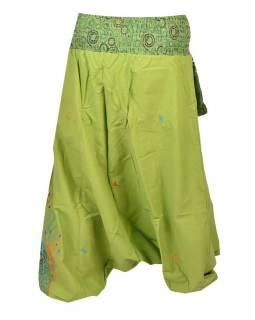 """Zelené turecké kalhoty, """"Birds design"""", barevná výšivka, kapsička, bobbin"""