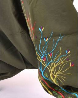 """Khaki turecké kalhoty, """"Birds design"""", barevná výšivka, kapsička, bobbin"""