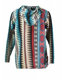 Multibarevný anorak s kapucí, knoflíky, multibarevný, vzor aztec
