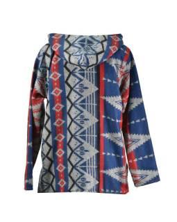 Multibarevný anorak s kapucí, knoflíky, modro-červená, vzor aztec