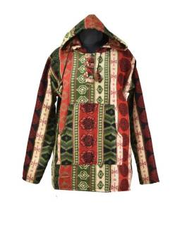 Multibarevný anorak s kapucí, knoflíky, multibarevná, vzor aztec