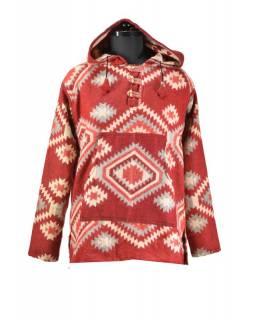 Multibarevný anorak s kapucí, knoflíky, červená, vzor aztec