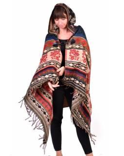 Dámské dlouhé rozepínací pončo s kapucí a třásněmi, multibarevné