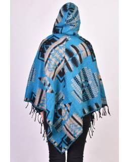 Dámské krátké pončo s kapucí a třásněmi, modrá, vzor aztec