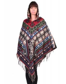 Dámské krátké pončo s kapucí a třásněmi, multicolor, vzor aztec