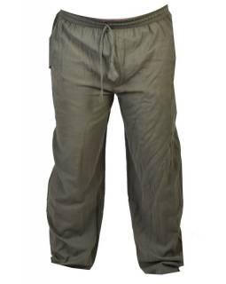 Unisex dlouhé khaki kalhoty s kapsami, pružný pas