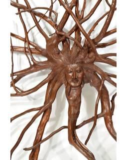 Dřevěná hlava Déví z kořene kávovníku, 125x125cm