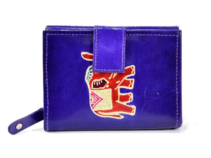 """Peněženka design """"Elephant"""", ručně malovaná kůže, fialová, 9x12cm"""
