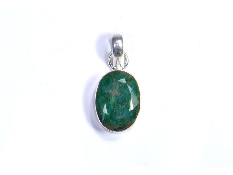 Přívěsek s polodrahokamem, rekonstruovaný smaragd, postříbřený (10µm)