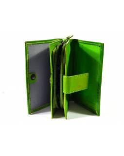 """Peněženka design """"Card"""", ručně malovaná kůže, zelená, 9x12cm"""