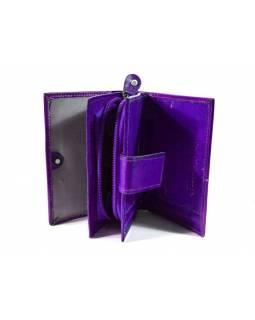 """Peněženka design """"Zik Zak"""", ručně malovaná kůže, fialová, 9x12cm"""