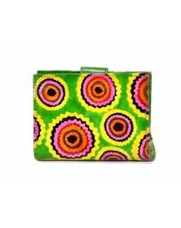 """Peněženka design """"Zik Zak"""", ručně malovaná kůže, zelená, 9x12cm"""