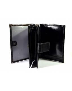 """Peněženka design """"Romantic"""", ručně malovaná kůže, černá, 9x12cm"""