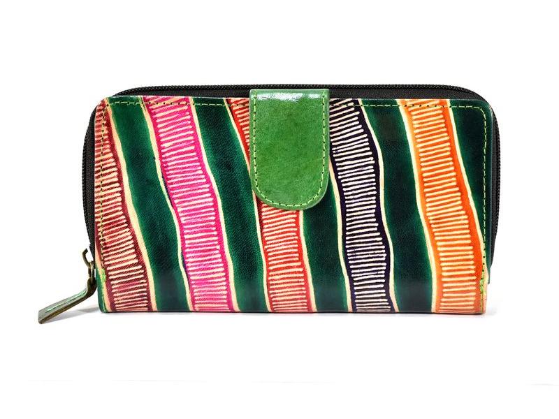 """Peněženka design """"Tube"""", ručně malovaná kůže, zelená, 18x10cm"""