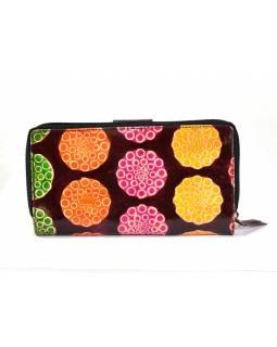"""Peněženka design """"Flower bubbles"""", ručně malovaná kůže, vínová, 18x10cm"""