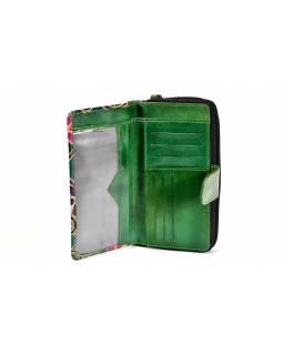 """Peněženka design """"Old"""", ručně malovaná kůže, zelená, 18x10cm"""