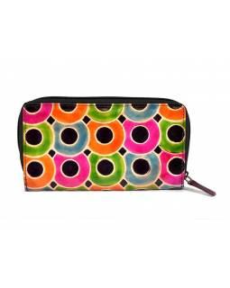 """Peněženka design """"Dots"""", ručně malovaná kůže, fialová, 18x10cm"""