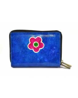 """Peněženka design """"Flower"""", ručně malovaná kůže, modrá, 15x10cm"""