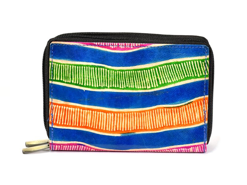 """Peněženka design """"Tube"""", ručně malovaná kůže, modrá, 15x10cm"""