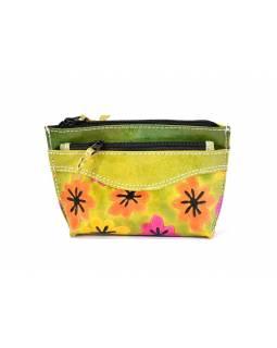 """Peněženka na drobné design """"Happy flower"""", ručně malovaná kůže, zelená,13x9"""